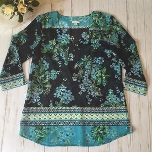 J. Jill Blue Floral Blouse Size Small